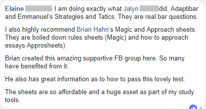 """I also highly recommend [Magicsheets and Approsheets]. They are boiled down rules sheets and how to approach essays"""