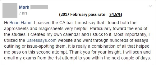 """I passed the CA bar. I must say that I found both the Approsheets and Magicsheets very helpful."""