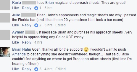 """Brian Hahn's approsheets and magic sheets are why I passed the Florida bar (and it had been 20 years since I last took a bar exam)"""