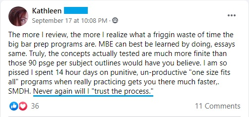 """The more I review, the more I realize what a waste of time the big bar prep programs are. . . . Never will I 'trust the process.'"""