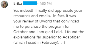 """""""In fact, it was your review of Uworld that convinced me to purchase the program for October and I am glad I did.  I found the explanations far superior to Adaptibar (which I used in February)."""""""