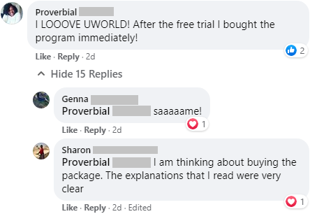 """""""I LOOOVE UWORLD! After the free trial I bought the program immediately!""""  """"The explanations that I read were very clear"""""""