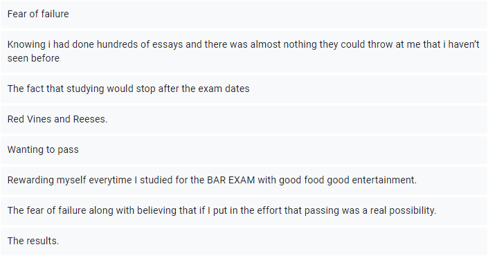 What motivated bar exam takers 1